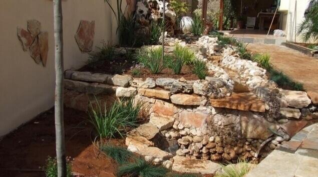 בריכת נוי עם סלעים וצמחים